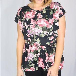 Reborn J Floral Peplum Ruffle Sleeve Top, size S